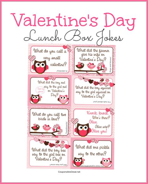 printable valentines day lunch box notes  valentines jokes  kids