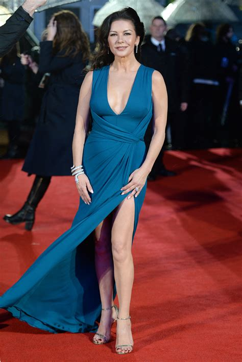 catherine zeta jones suffers near wardrobe malfunction in