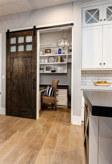 Timber Frame Home With Farmhouse Inspired Interiors Home Kitchen Barn Door