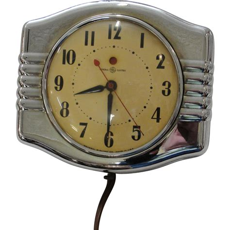 art deco wall clock roselawnlutheran vintage general electric chrome art deco wall kitchen