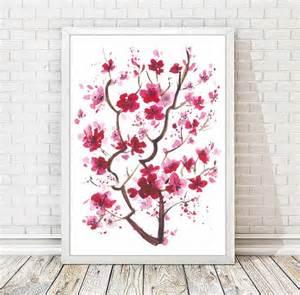 Wall Stickers Cherry Blossom Tree aquarelle de fleurs de cerisier japonais peinture abstraite
