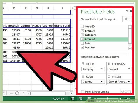 how to add pivot table in excel how to add rows to a pivot table 10 steps with pictures