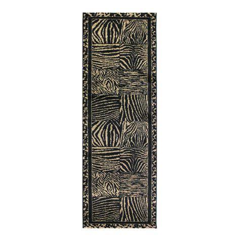 Leopard Print Runner Rug Black Beige Animal Print Runner Rug Bombay Kukoon