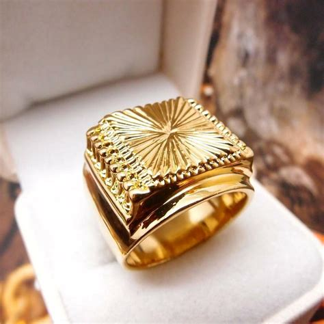 men jewelry hip hop  yellow gold filled mens ring