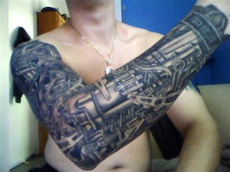 bio mechanical arm sleeve bio mech clockwork tattoo