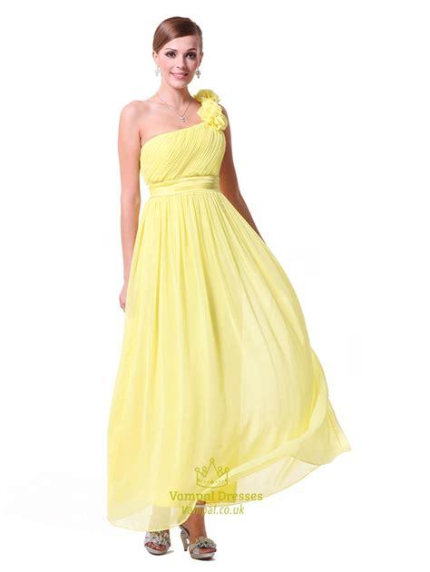 Yellow Bridesmaid Dress by Yellow One Shoulder Bridesmaid Dresses Chiffon One