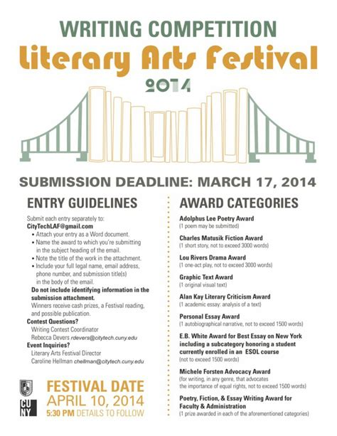 writing competition the city tech literary arts festival