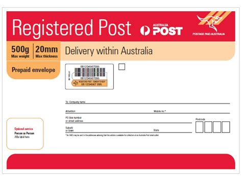 Which Post Office Delivers To Address by Registered Post B4 Prepaid Envelope Australia Post Shop