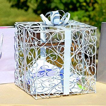 Wedding Reception Gift Card Boxes - white matte metal scroll wedding gift card box