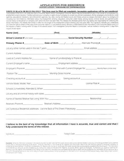 lease application form application form rental application form landlord