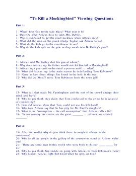 up film study questions to kill a mockingbird movie viewing questions by edu
