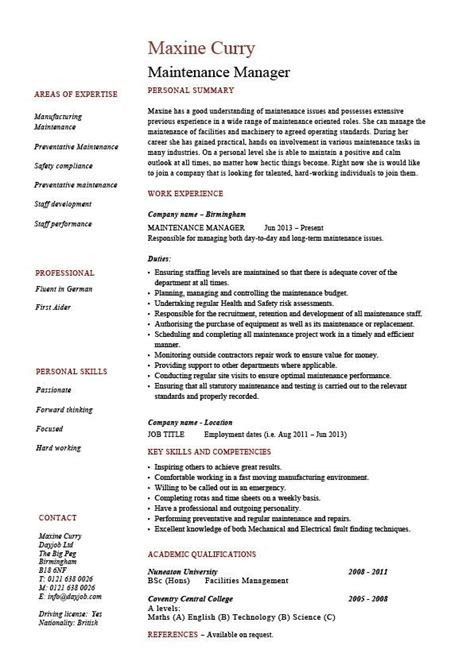 Maintenance Resume Template Maintenance Manager Resume The Best Resume