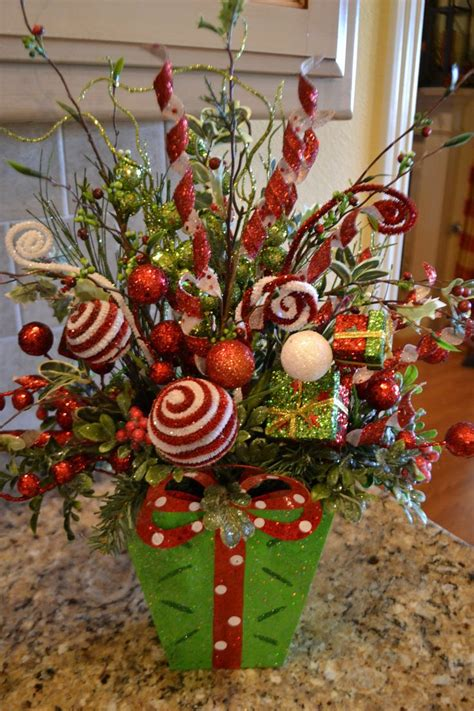 whimiscal christmas flower arrangements whimsical green