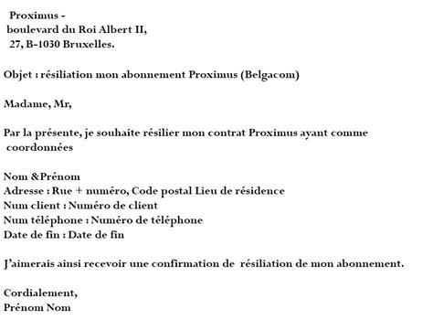 Lettre De R Siliation Urssaf proximus r 233 silier mon abonnement sans frais belgacom