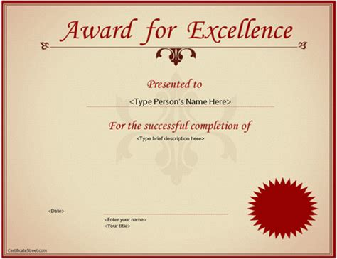 free templates for awards business business certificate excellence award certificate
