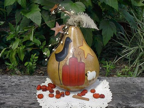 gourd craft projects primitive painted gourd pumpkin fall autumn centerpiece