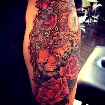 cheetah print tattoos with roses leopard soooo beautiful inked up