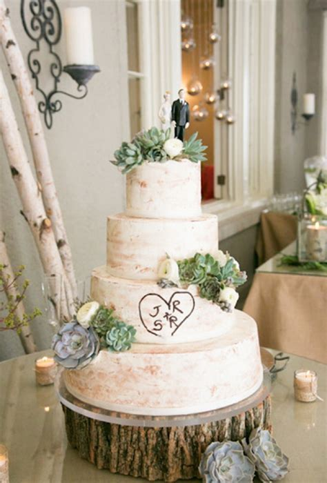 wedding rustic rustic wedding cake with succulents brides
