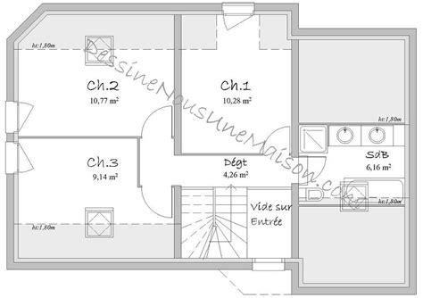 plan maison 3 chambres etage plans de maisons individuelles avec 3 chambres