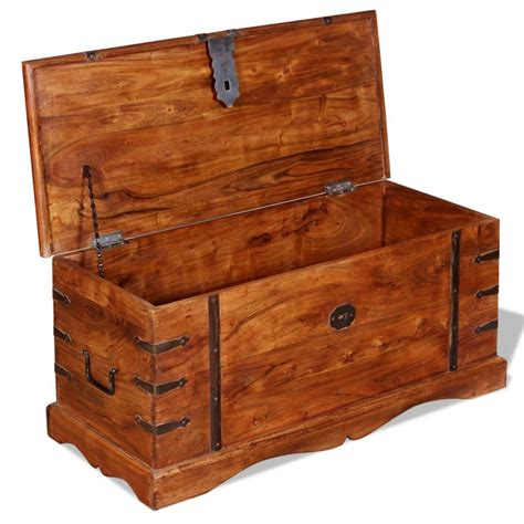 Handmade Trunk - brown solid wood storage chest trunk box antique style