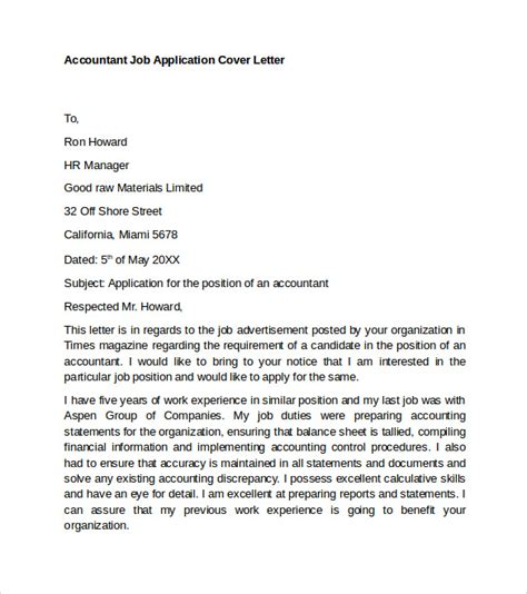 Cover Letter Accounting Application Application Letter For Employment As An Accountant Cfxq