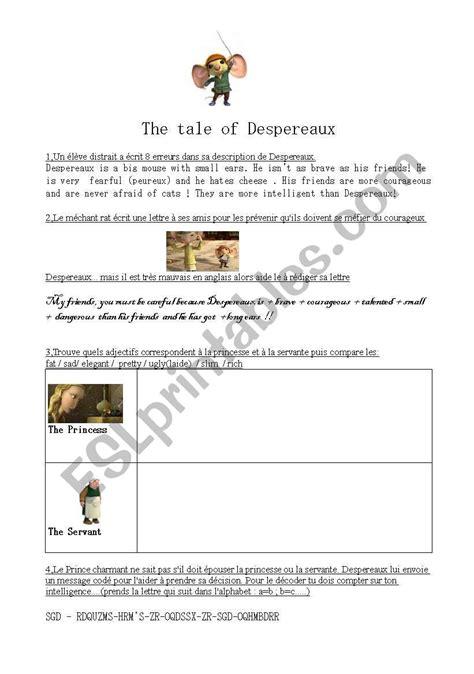 Tale Of Despereaux Printable Test worksheets the tale of despereaux
