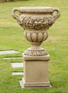 gordes stone vase  pedestal large garden planter
