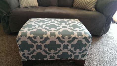recover ottoman no sew diy no sew recover ottoman with shower curtain target