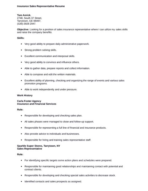 Basic Sle Resume by Basic Insurance Sales Representative Resume Template