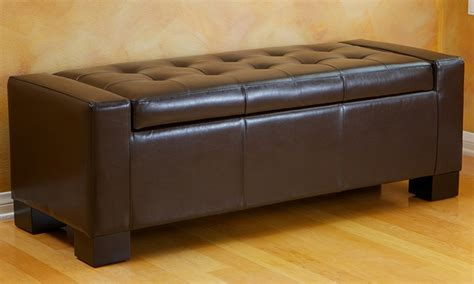 rothwell storage bench ottoman tufted leather storage ottoman groupon goods