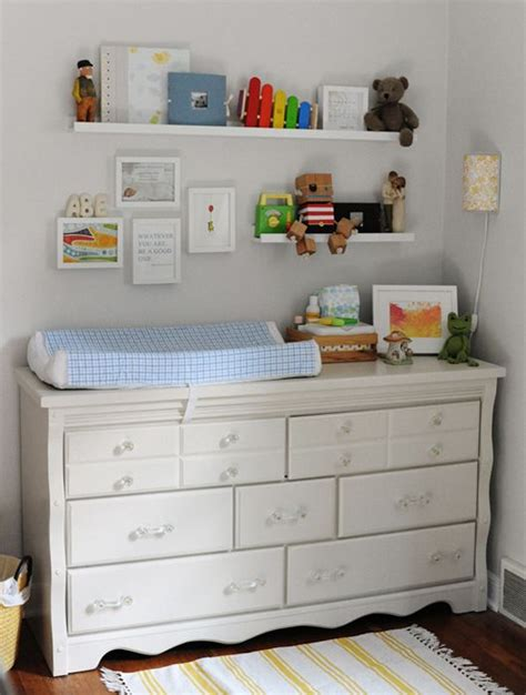 Changing Table Shelves Changing Area On Vintage Dresser Lil Ms Macha Nursery