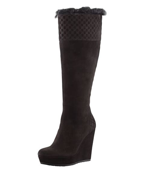 gucci courteney fur suede wedge boot black