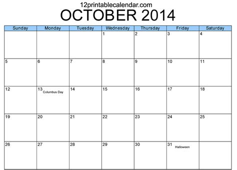 8 best images of oct 2014 calendar printable template