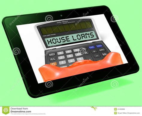 house loans calculator house loans calculator tablet shows mortgage and bank lending stock illustration