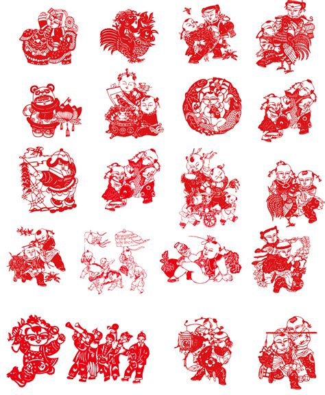 chinese pattern vector ai 20 the traditional chinese paper cut art happy new year
