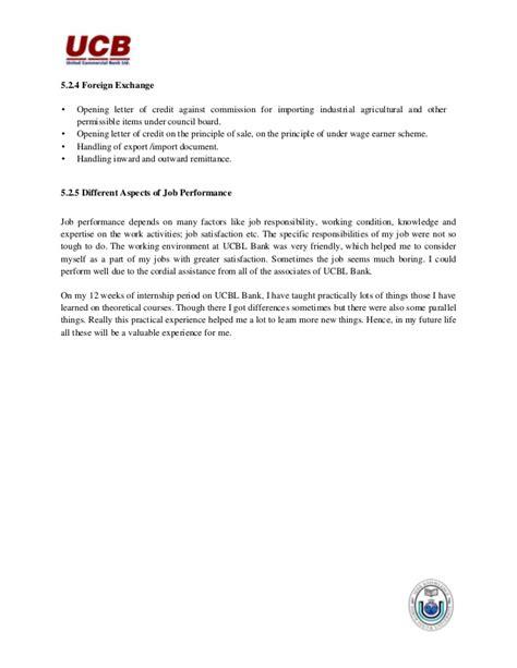 United Bank Limited Letter Of Credit internship report on united commercial bank ltd