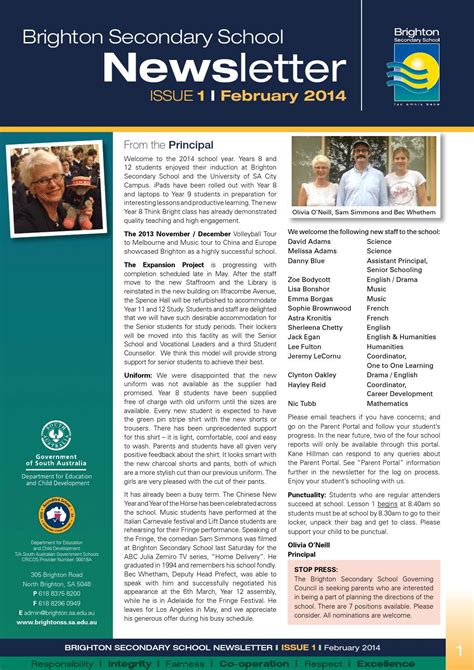 College Newsletter Brighton Secondary School Newsletter February 2014 By Brighton Secondary School Issuu