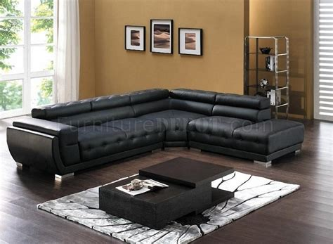 Modern Black Sectional Sofa 8097 Modern Leather Sectional Sofa In Black By American Eagle