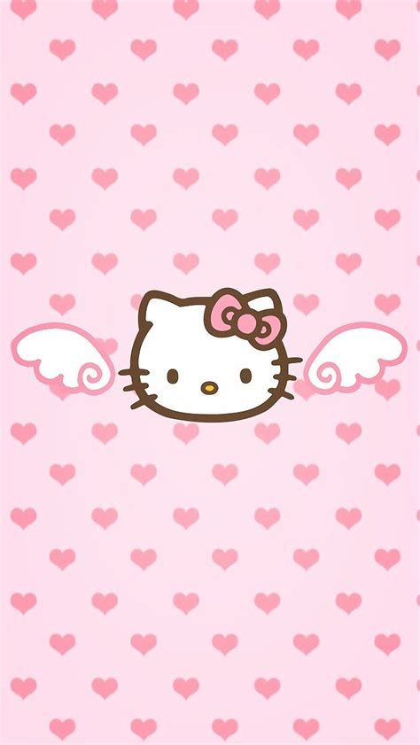 theme hello kitty cho ios 9 pink hello kitty angel wings and hearts phone wallpaper