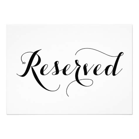 reserved seating signs template modern calligraphy reserved wedding sign card zazzle