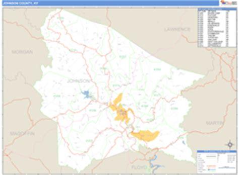 kentucky map johnson county johnson county ky zip code wall map basic style by marketmaps