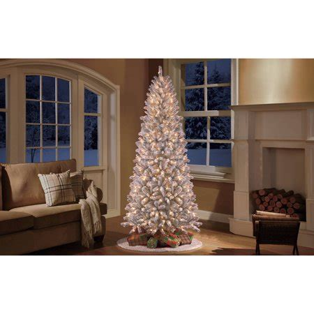 walmart skinny christmas tree time pre lit 9 slim winter pine artificial tree clear light walmart