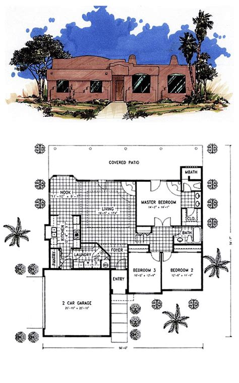 santa fe house plans santa fe southwest house plan 54606