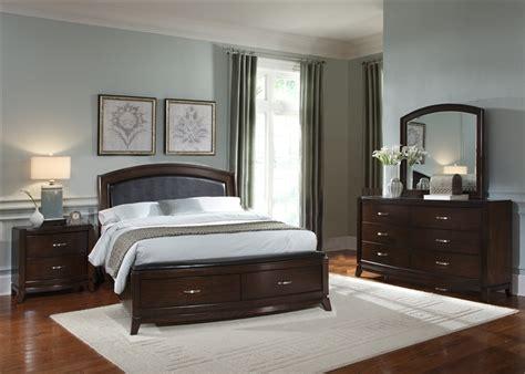 avalon upholstered storage bed  piece bedroom set  dark truffle finish  liberty furniture