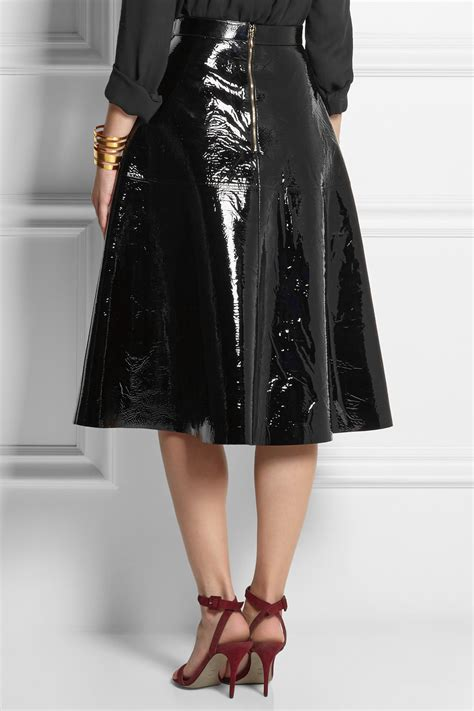 rochas patent leather skirt in black lyst