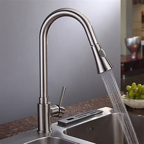 brushed nickel single handle kitchen faucet nickel brushed finish contemporary single handle kitchen