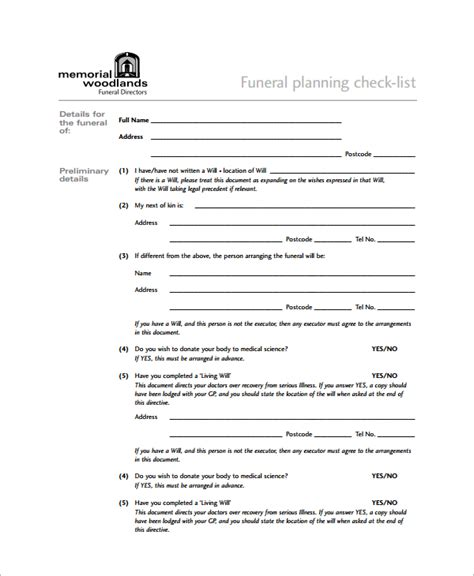 Sample Funeral Checklist Template   13  Documents in PDF