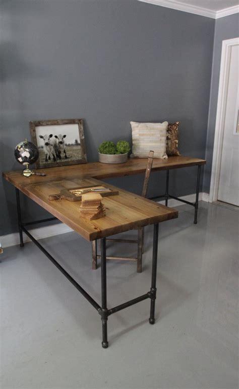 industrial l shaped desk industrial l shaped desk wood desk pipe desk reclaimed by