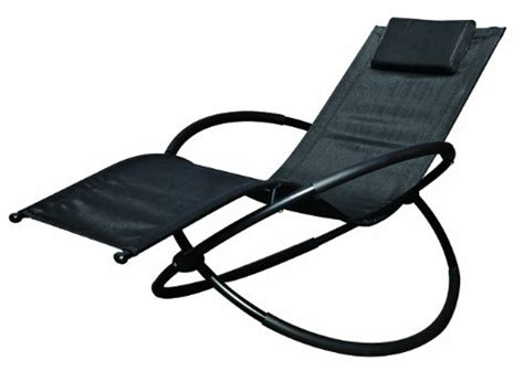 Rocking Garden Lounger Garden Kraft 19180 Benross Louis Moon Rocker Lounger Garden Chair With Pillow Black By