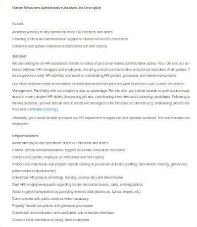 human resources assistant description 9 free word